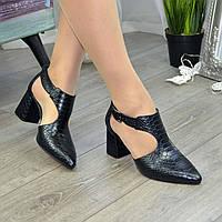 """Туфли женские из натуральной кожи с тиснением """"питон"""", цвет черный. 39 размер"""