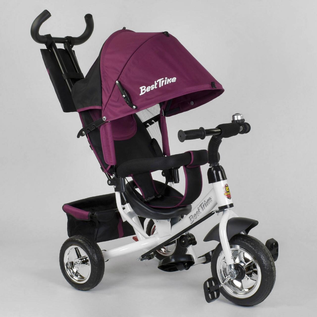 Детский трехколесный велосипед с родительской ручкой Best Trike 6588 - 18-595 Бордовый (колеса пена)