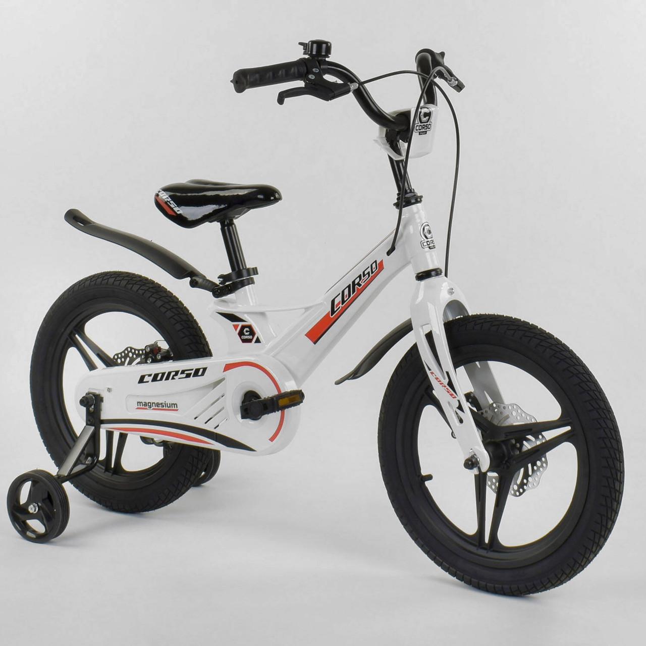 """Детский велосипед 16"""" дюймов 2-х колёсный Corso MG-54655 Белый, магниевая рама, дисковый тормоз"""