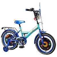 """Детский двухколёсный велосипед 16"""" с металлической рамой TILLY Apollo T-216215 blue + l.blue"""