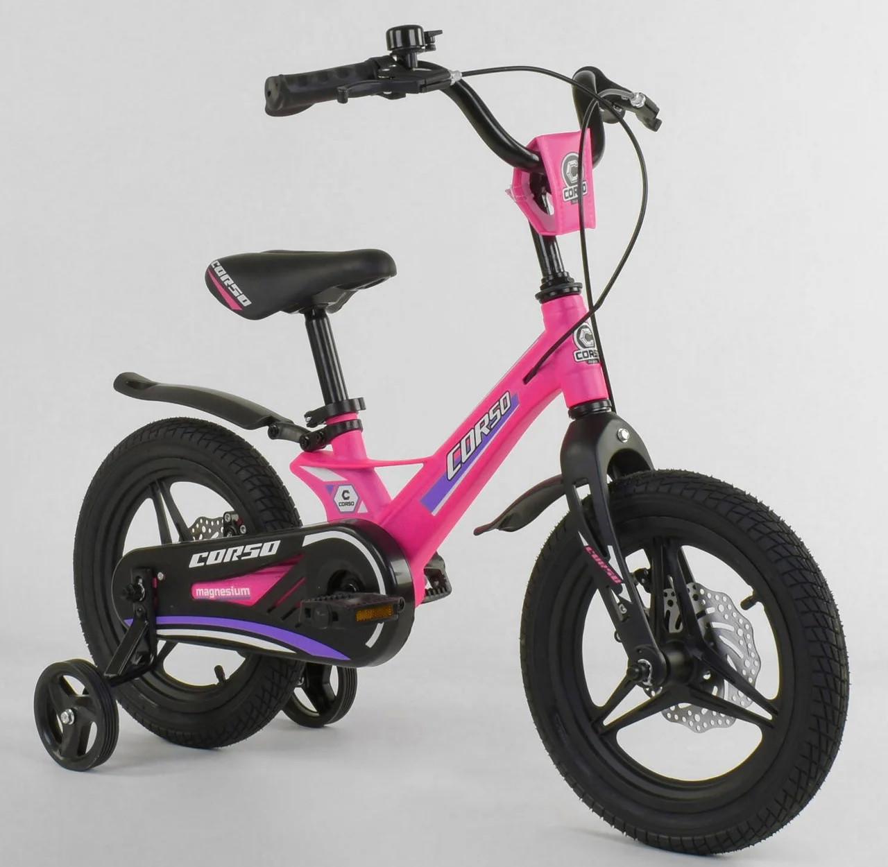"""Детский двухколёсный велосипед 14"""" с магниевой рамой литыми дисками дисковые тормоза Corso MG-16086 розовый"""