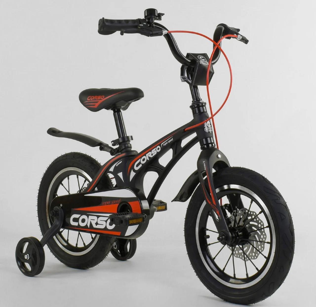 """Детский двухколёсный велосипед 14"""" с магниевой рамой и алюминиевыми двойными дисками Corso MG-14 S 325 черный"""