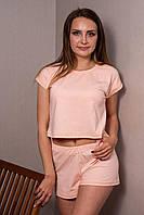 Женская пижама футболка с шортами пудрового цвета