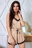 Женская шелковая пижама с шортами и топом с отделкой из кружева (1348.4100 svt)