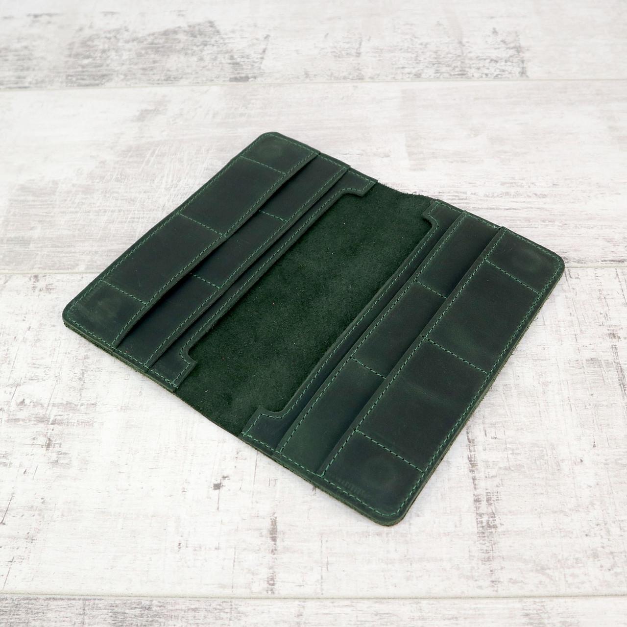 Кошелек 10 cards зеленый из натуральной кожи crazy horse