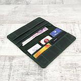 Кошелек 10 cards зеленый из натуральной кожи crazy horse, фото 3