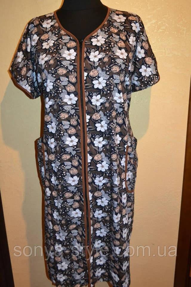 Женский халат с цветами больших размеров