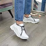 Кроссовки кожаные женские из натуральной белой кожи, фото 4