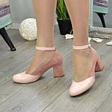 Туфли женские на каблуке, натуральная кожа и замша цвета пудра, фото 2