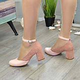 Туфли женские на каблуке, натуральная кожа и замша цвета пудра, фото 4