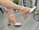 Туфли женские на каблуке, натуральная кожа и замша цвета пудра, фото 5