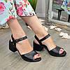 Босоножки кожаные женские на устойчивом каблуке, цвет черный, фото 2