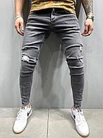 Серые рваные джинсы мужские зауженные Турецкие ЛЮКС