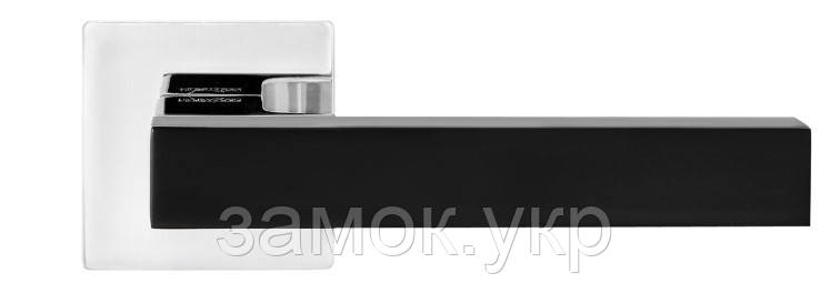 Дверная ручка MVM Z-1410 BLACK/CP полированный хром  (Китай)