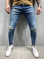 Мужские рваные джинсы синие SLIM FIT ТУРЦИЯ