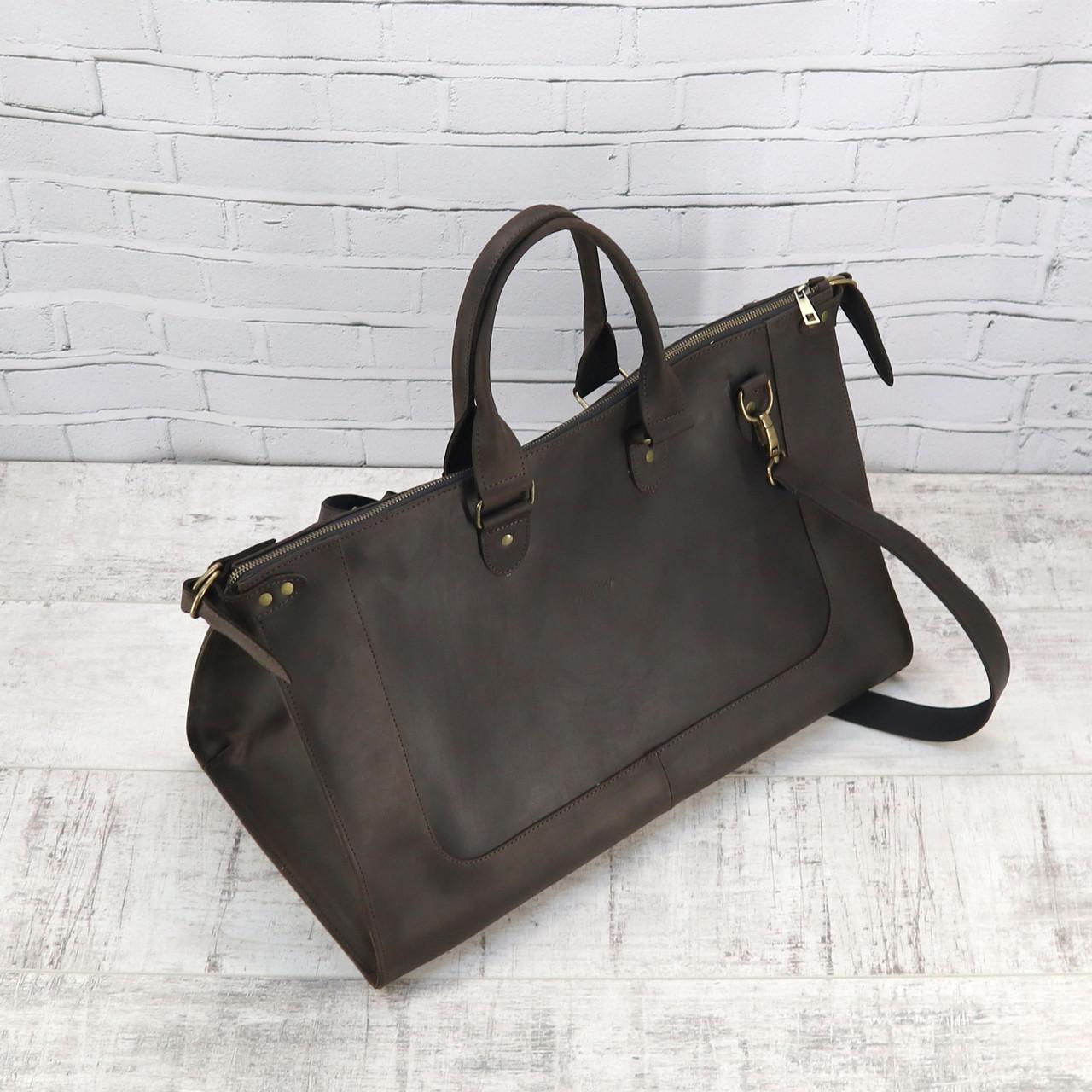 Дорожная сумка tree коричневая из натуральной кожи crazy horse