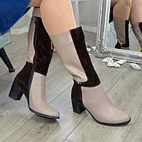 Сапоги женские зимние на невысоком устойчивом каблуке, цвет визон/коричневый. 41 размер
