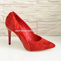 Классические женские туфли на шпильке, цвет красный. 37 размер