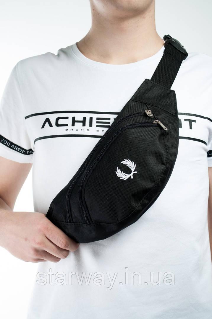 Черная стильная бананка   поясная сумка   фред перри логотип принт