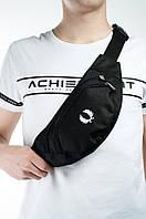 Черная стильная бананка   поясная сумка   фред перри логотип принт, фото 1