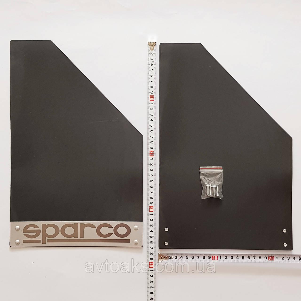 Брызговик тюнинговый, пластиковый SPARCO, 370х240 мм. с пластиной