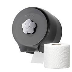 Диспенсер тримач туалетного паперу в стандартних рулонах Rixo Bello P127TB пластиковий чорний матовий