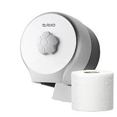 Диспенсер для рулонної туалетного паперу Rixo Bello P127S сріблястий пластиковий настінний