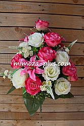 Искусственные цветы - Роза с лилией и дельфиниумом композиция, 63 см