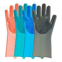 Силиконовые Перчатки с Ворсом для Мытья и Чистки Super Gloves №21 в пакете, фото 1