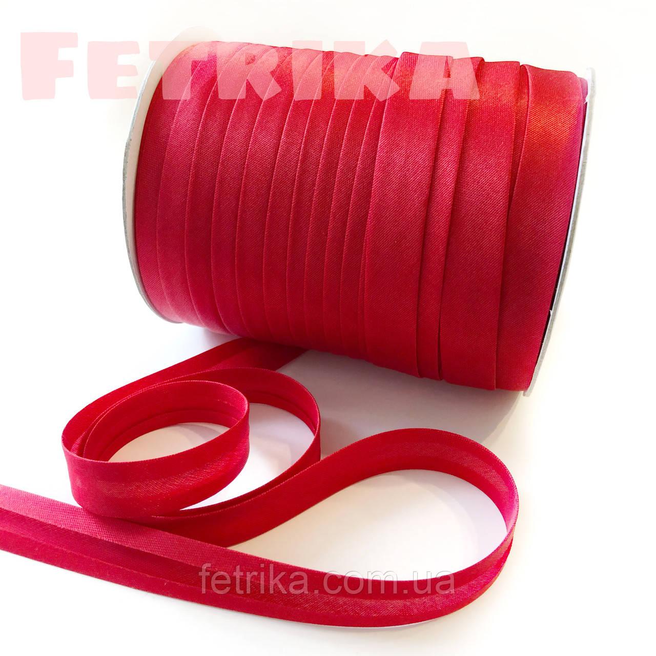 Косая-бейка атласная красная, 15 мм