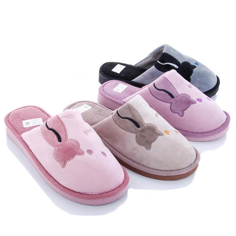 Тапочки домашні кімнатні жіночі Кіт. Тапки демісезонні для дому (рожеві) 38-39