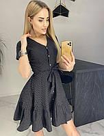 Платье с воланом в мелкий горошек женское (ПОШТУЧНО)