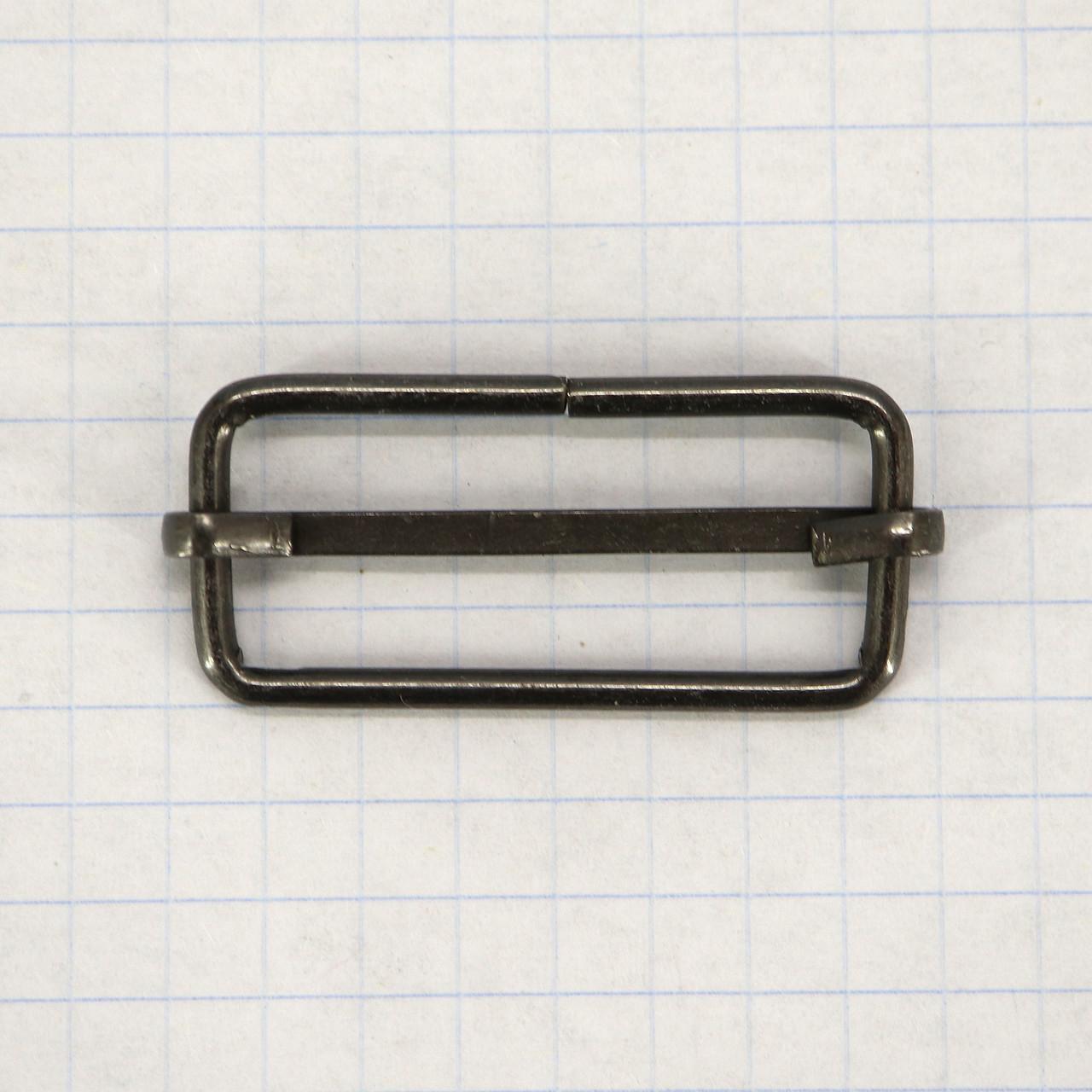 Регулятор пряжка перетяжка 30 мм тёмный никель для сумок (50 шт.)