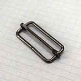 Регулятор пряжка перетяжка 30 мм тёмный никель для сумок (50 шт.), фото 2