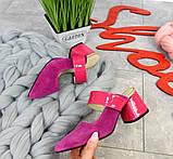 Яркие натуральные летние мюли на устойчивом каблучке (разные цвета), фото 2