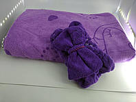 Женское полотенце халат + повязка микрофибра (034453) Фиолет, фото 1