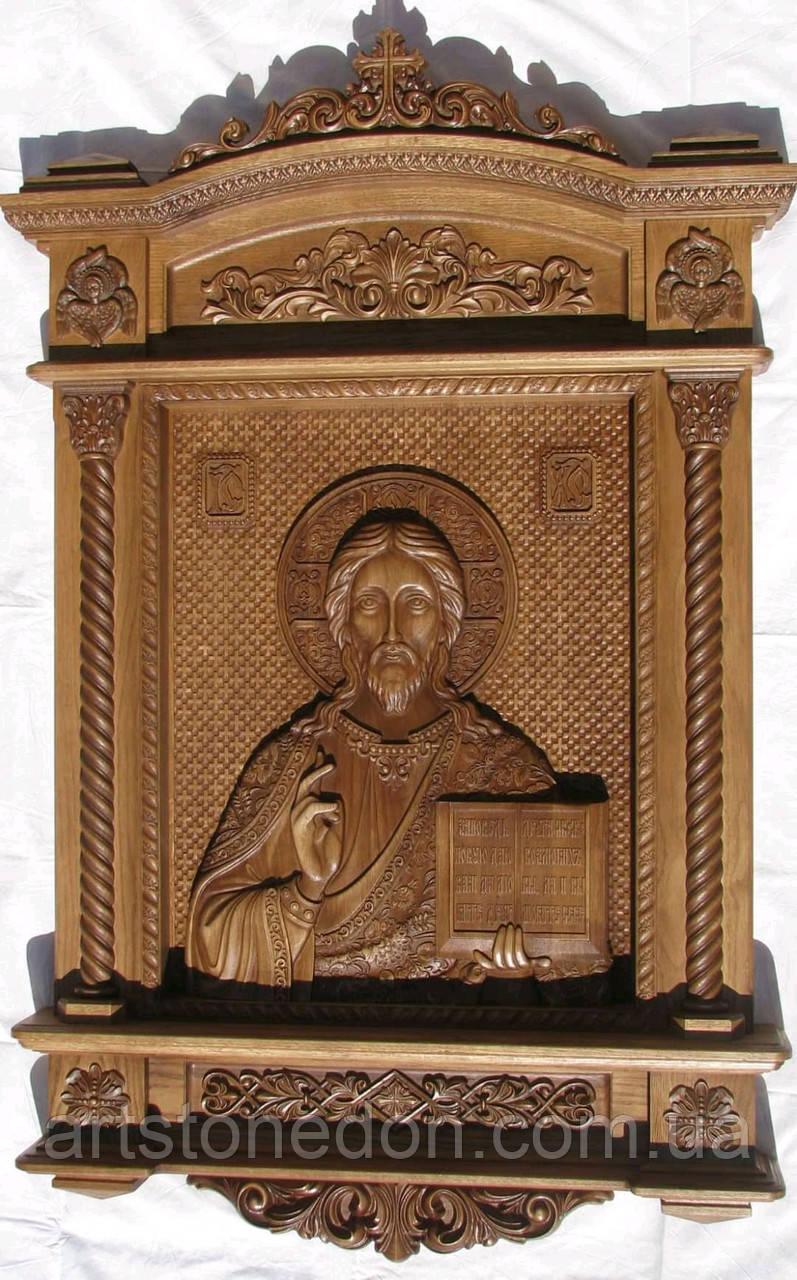 Храмовая резная икона Спаситель 140*90*14 см