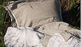Комплект льняного белья бело-серый Devohome (двуспальный Евро), фото 3