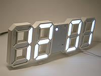 Настольные 3D часы с LED подсветкой и градусником белые ифры