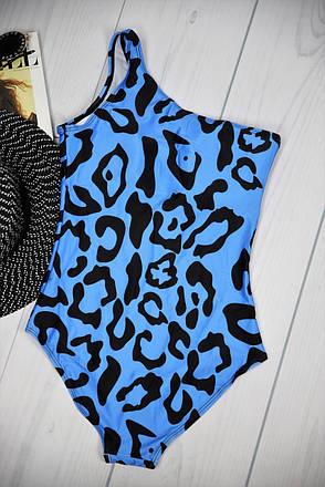 Купальник відрядний на одне плече синій леопардовий, фото 2