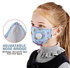 Защитная маска Детская для лица многоразовая с клапаном и фильтром+4 фильтра в подарок, фото 8