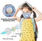 Защитная маска Детская для лица многоразовая с клапаном и фильтром+4 фильтра в подарок, фото 9