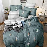 Постель КАКТУС, размер евро / цвет серый. Комплект постельного белья. Ткань Бязь