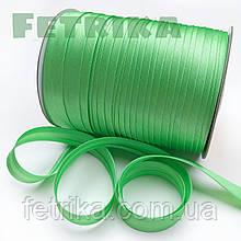 Косая-бейка атласная зеленая, 15 мм