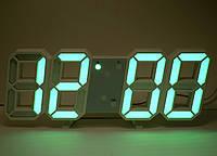 Настольные 3D часы с LED подсветкой и градусником зеленые цифры