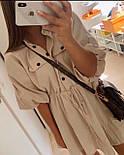 Жіноче літнє плаття льон на гудзиках з кулісою (в кольорах), фото 2