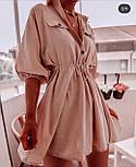 Жіноче літнє плаття льон на гудзиках з кулісою (в кольорах), фото 4