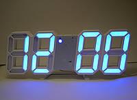 Настольные 3D часы с LED подсветкой и градусником голубые цифры