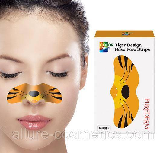 Полоски от черных точек Purederm Colorskin Design Nose Pore Strip Tiger