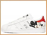 Женские кроссовки Adidas Superstar Mickey Mouse White (адидас суперстар микки маус, белые)